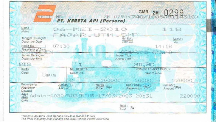 indonesisches Zugticket